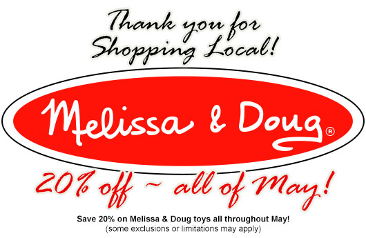 save 20% on Melissa and doug throughout May 2020